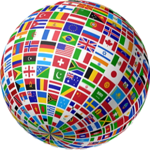 A tilted ball covered with the flags of countries