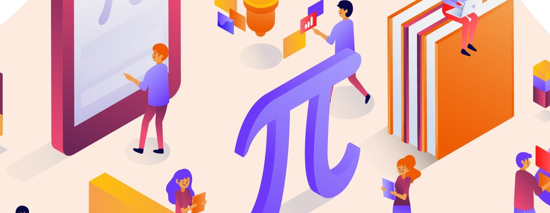 Big pi symbol, many students reading math