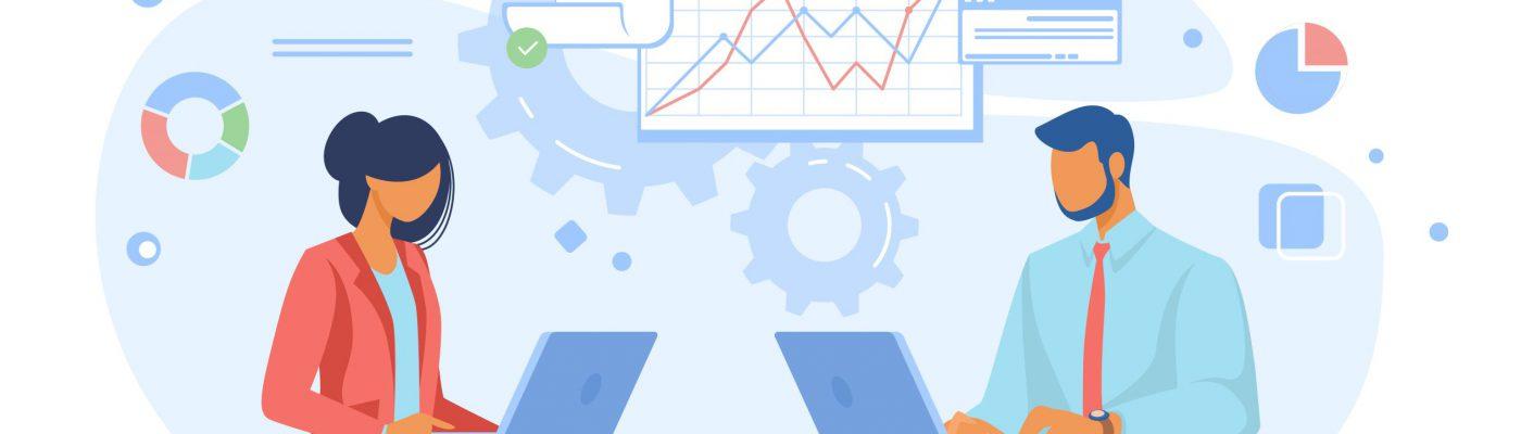 Statistics - A man and a woman analyzing data